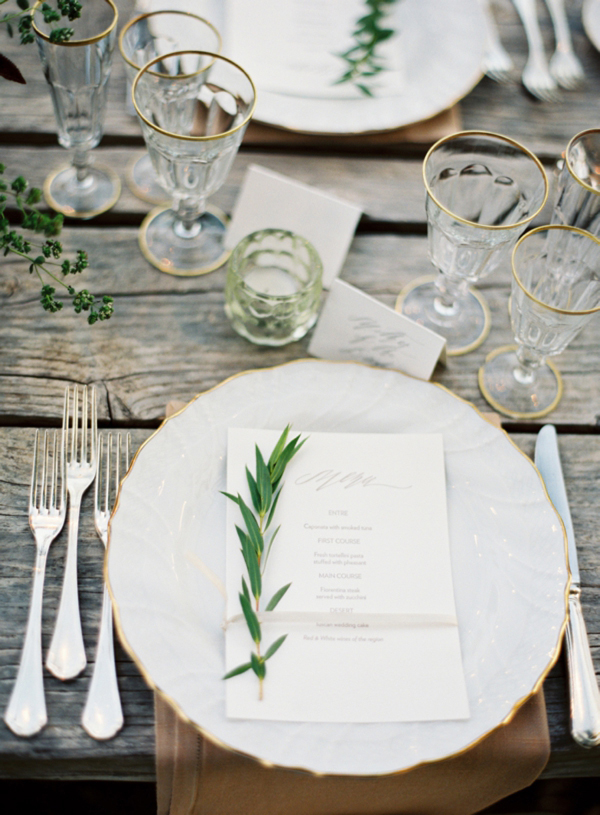 Elegant Organic Rustic China Table Setting