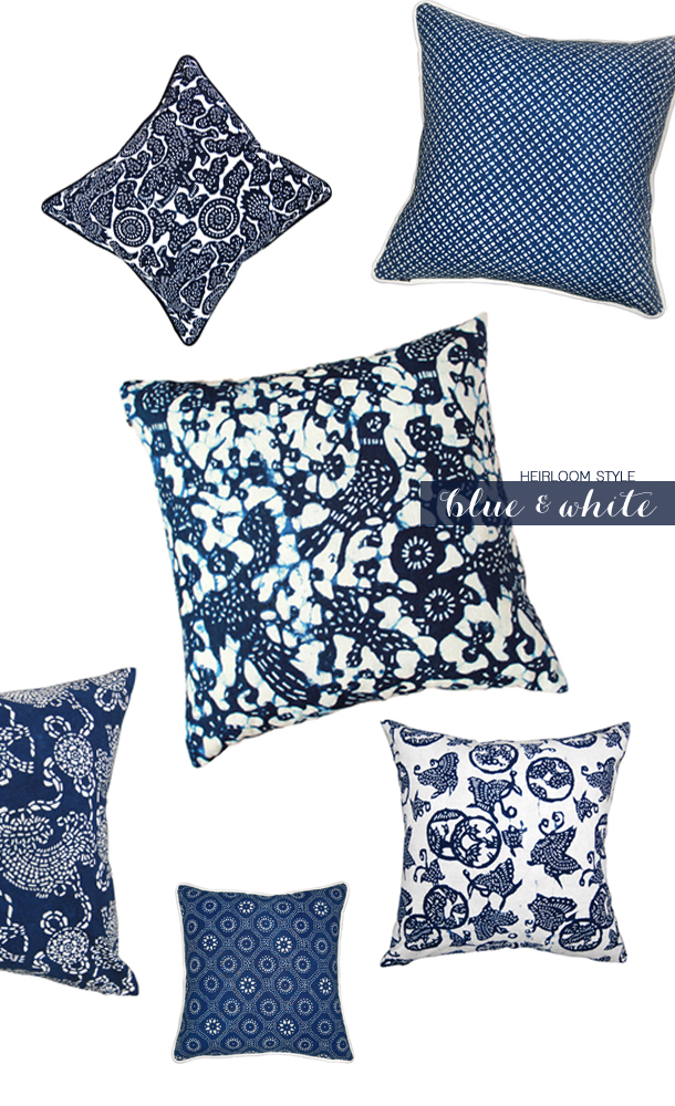 blue and white - pillow pattern
