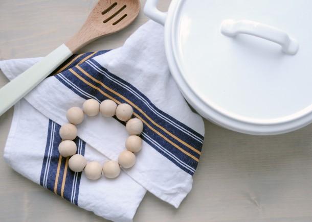 wooden bead trivet - 4