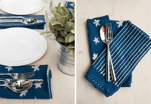 indigo stars diy napkins