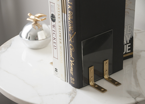clear lucite bookends