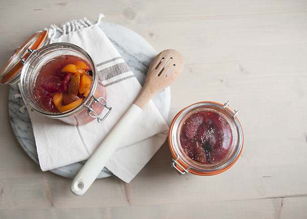 canned spiced plums