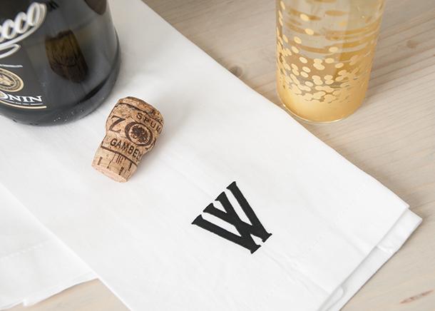 monogrammed bar towel diy