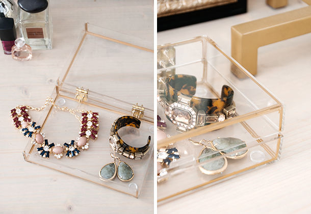 Gold rimmed jewelry box ... & DIY Gold Rimmed Acrylic Jewelry Box - Earnest Home co. Aboutintivar.Com