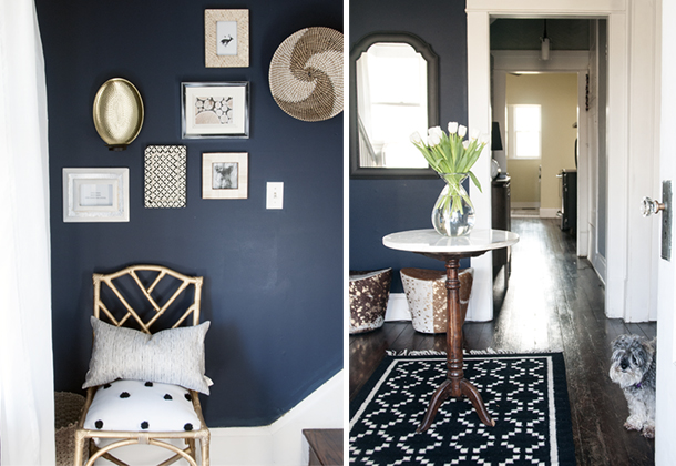 Navy entryway wall