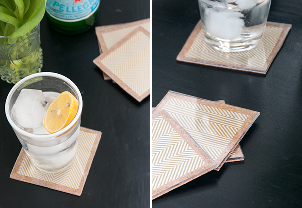 chevron and cork coasters