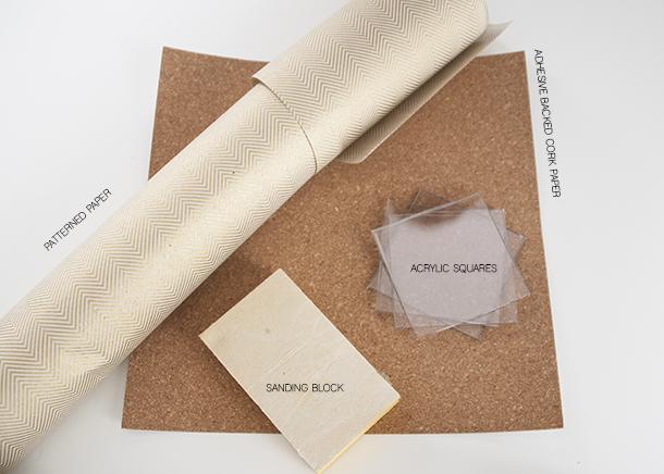 cork and chevron coasters - materials