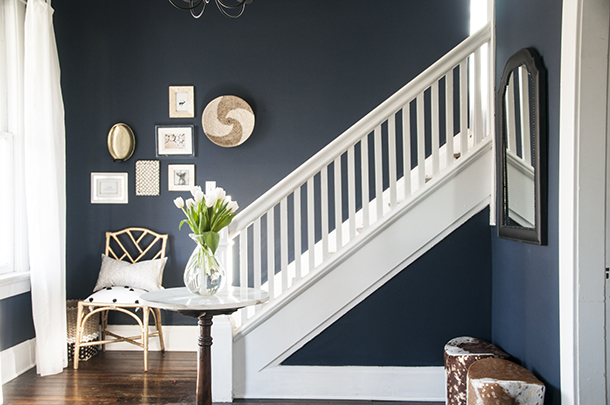 Painting Entryway before & after: a navy blue entryway - earnest home co.