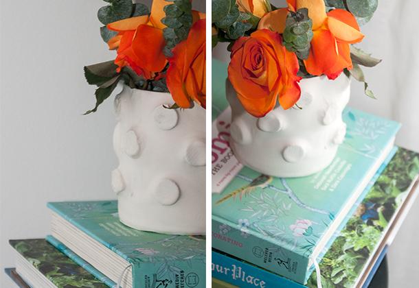 textured plaster vase