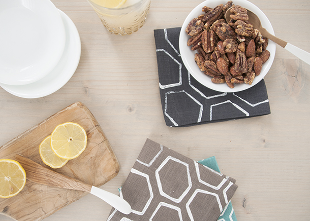 geometic hexagon stamped linens