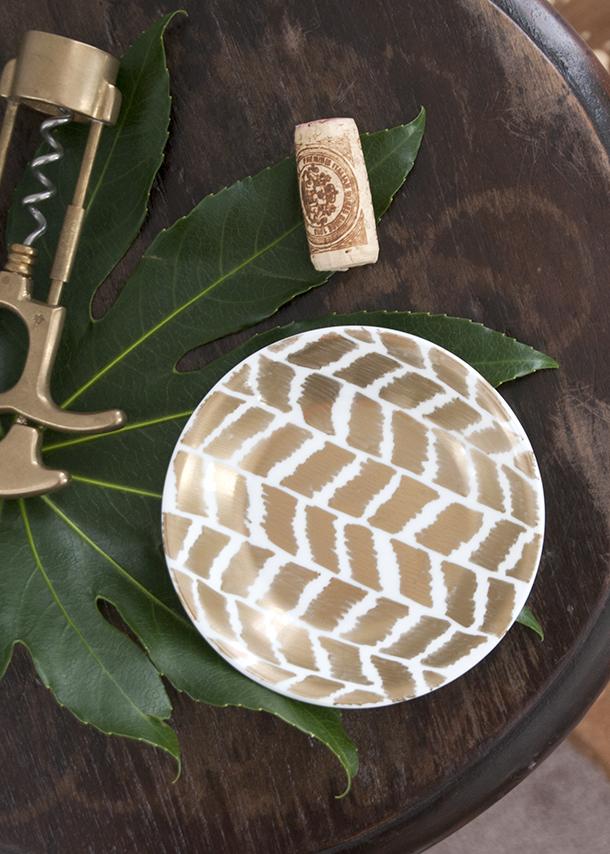 Ikat Herringbone Gold Dish