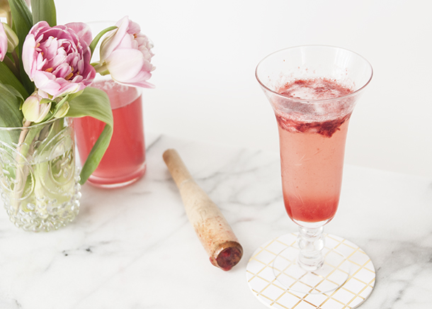 rhubarb champagne cocktail