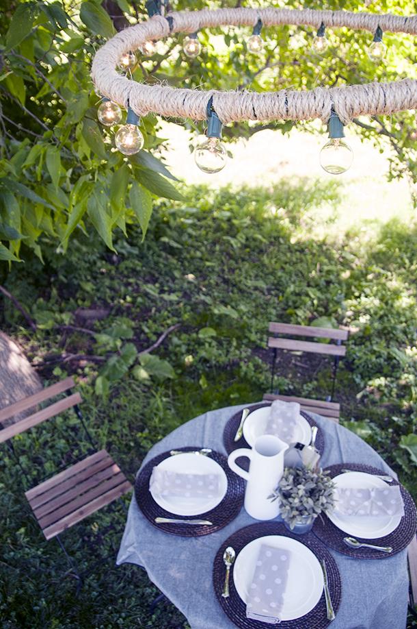 outdoor rope chandelier diy