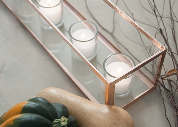 copper and glass candle centerpiece