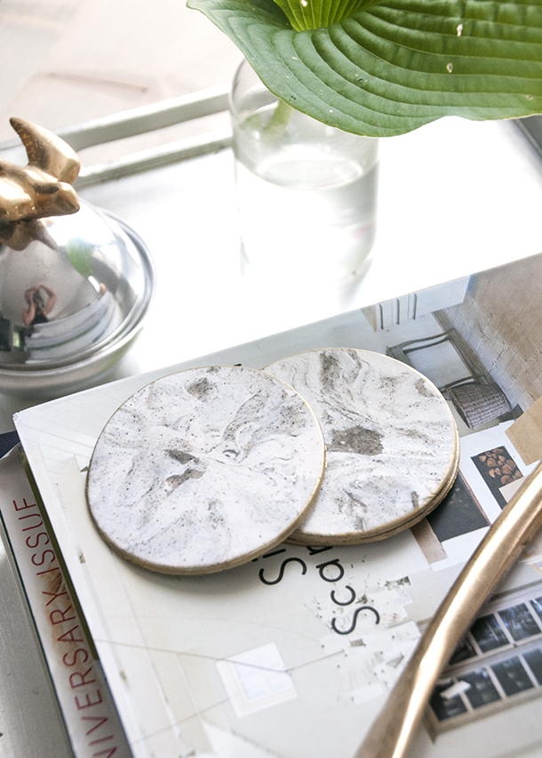 diy faux marble coasters