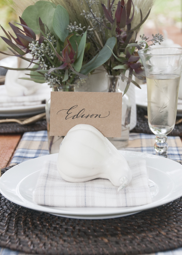 fall dinner party name card diy