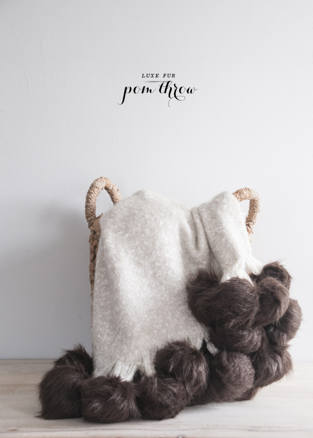 diy fur pom throw