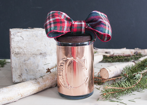 handmade holiday copper candle