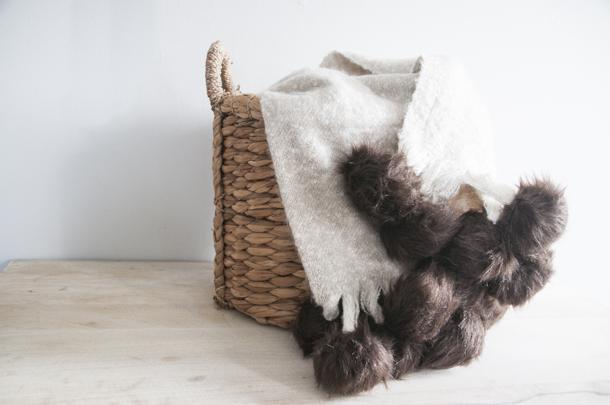 luxe fur pom throw