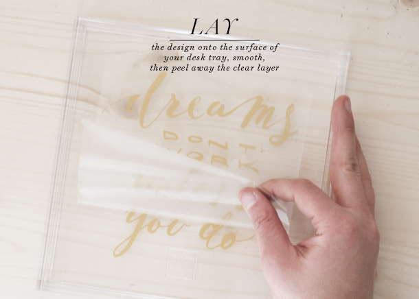 Motivational Gold and Lucite Desk Tray DIY Earnest Home co