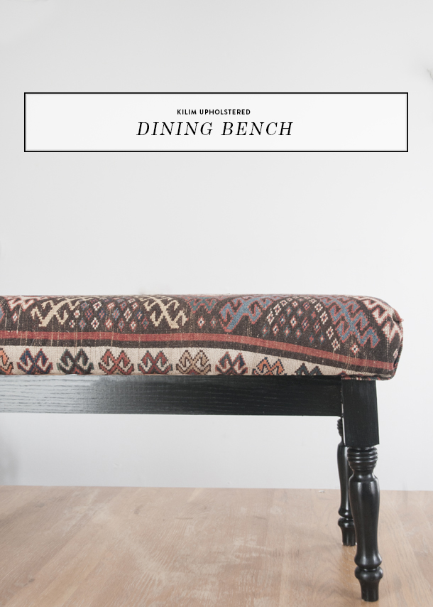 kilim upholstered dining bench