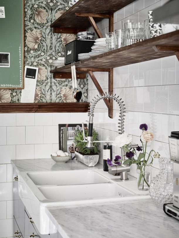 floral paper scandi kitchen