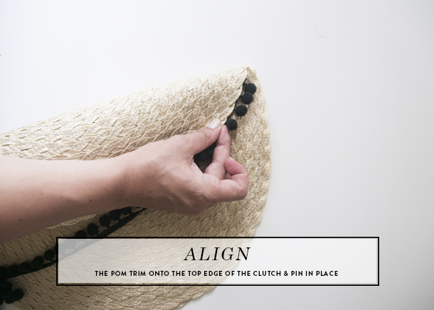 pom pom straw clutch diy step 5