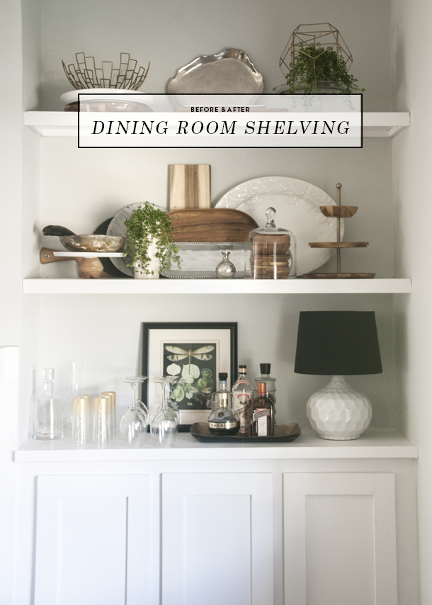 Elegant Before And After Dining Room Open Shelving